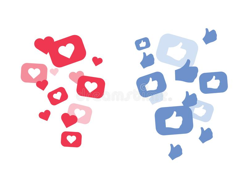 New Heart love, like, Thumbs up. Flying hearts. Red hearts of different sizes fly away. Like and Heart love stock illustration
