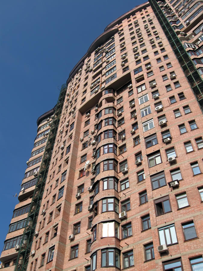 New High Building, Red Brick, Satellite Plates Stock Photography