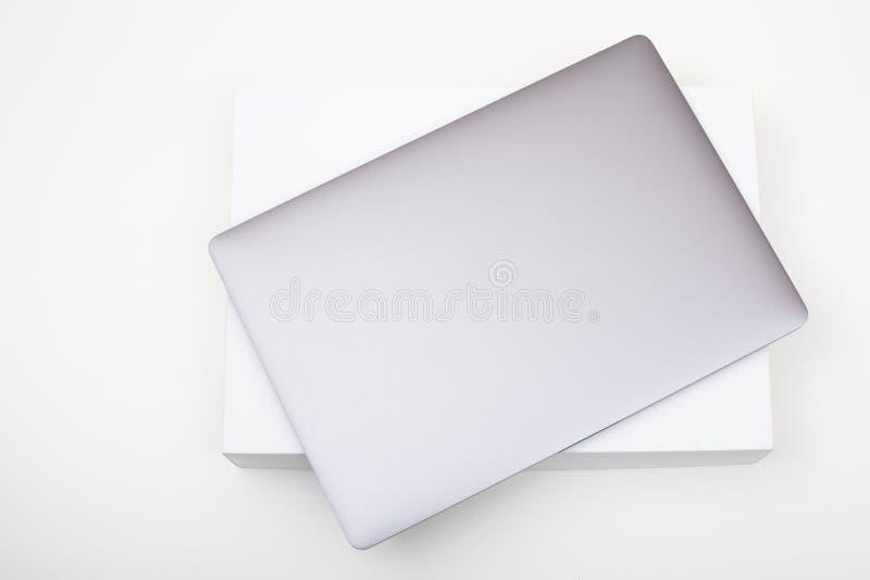 New high-speed thin grey aluminum laptop computer notebook royalty free stock photos