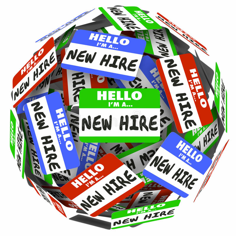New Hire Name Tag Sphere Ball Group Fresh Employees Workers stock illustration