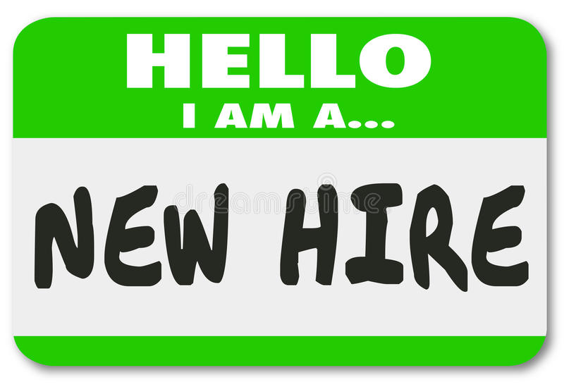New Hire Nametag Sticker Green Employee Rookie Fresh Talent vector illustration
