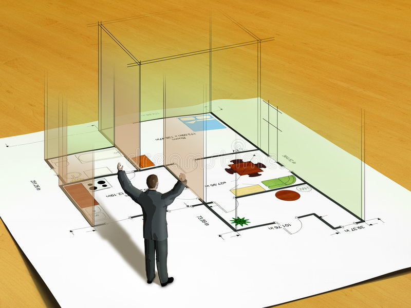 New Home. Home building raising from a paper project. Man watches excited. Digital illustration vector illustration