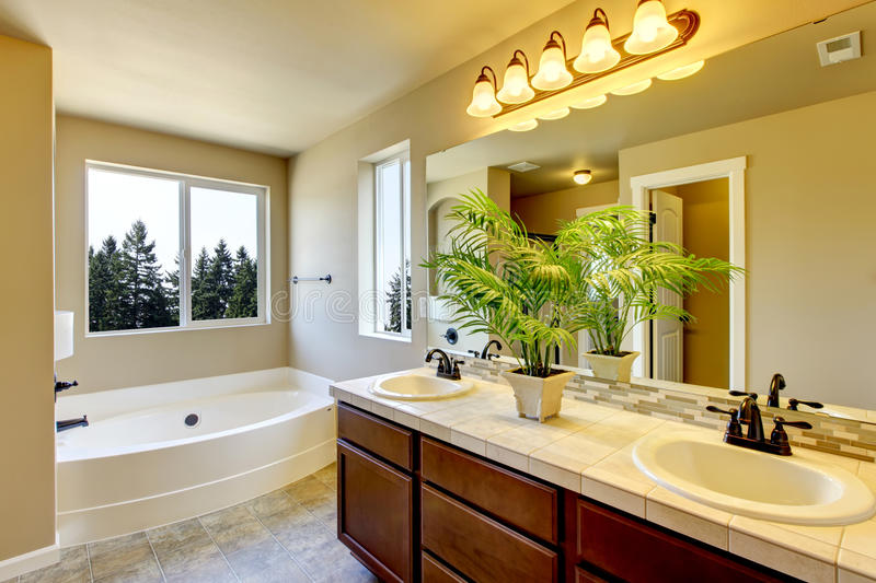 New home bathroom with shower and bath. royalty free stock image