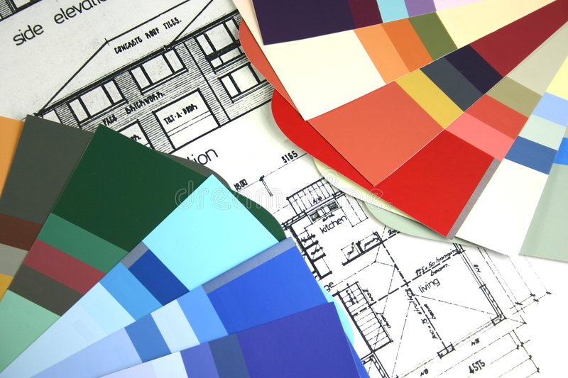 New Home Building. New home house plans with paint colour samples for selection