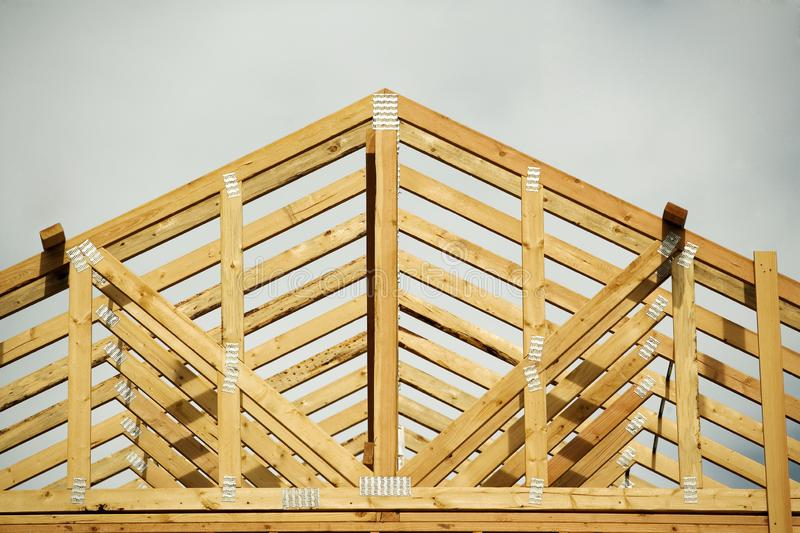 Roof construction on a new home. royalty free stock photo
