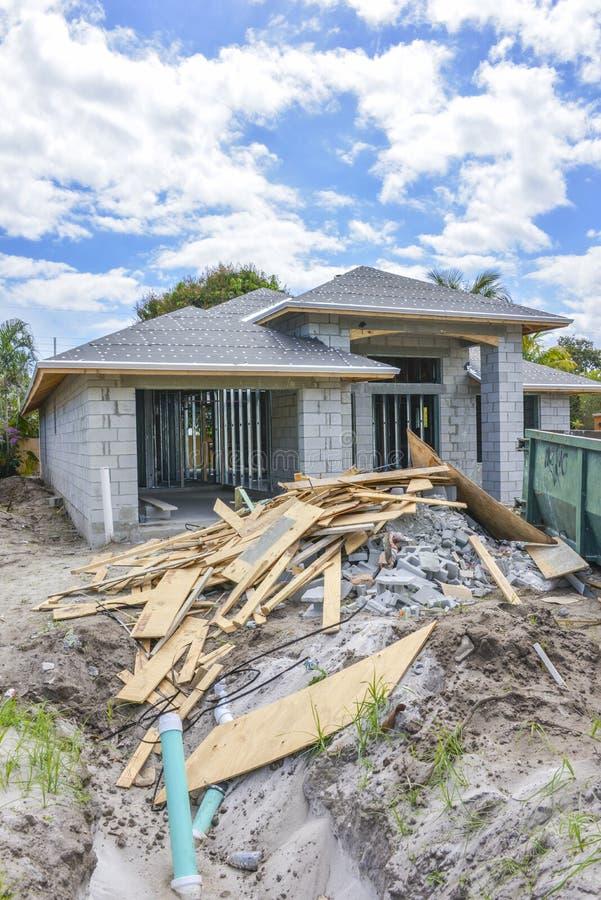 New home construction debris stock photo
