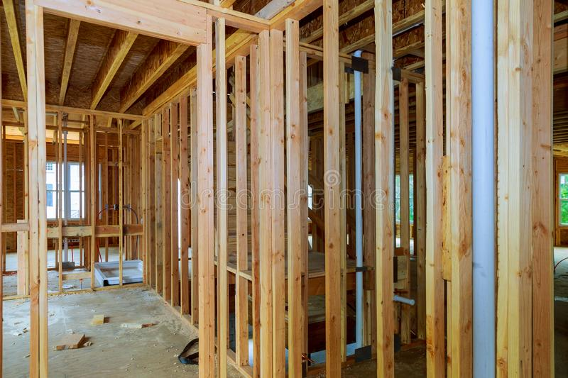 New home construction featuring hot and cold water PEX plastic plumbing tubes royalty free stock image
