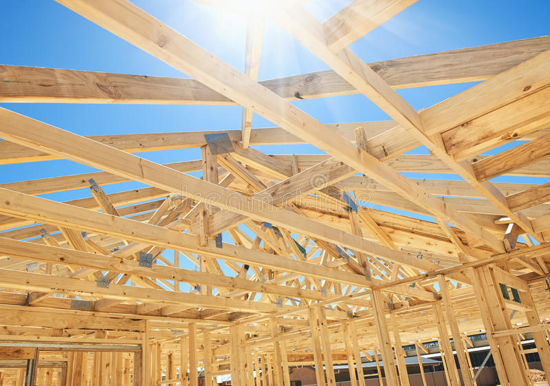 New home construction framing stock images
