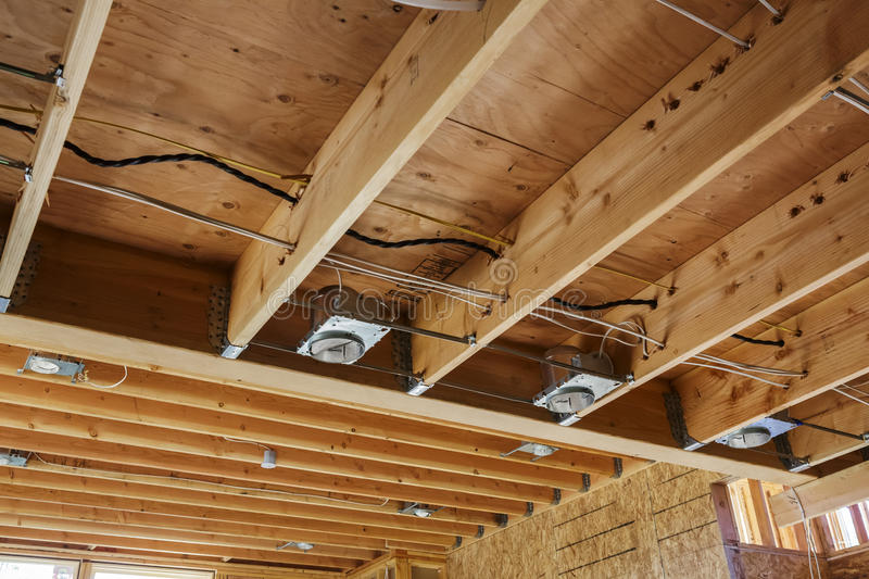 New Home Construction Lights And Ceiling Detail Stock Image Image Of Oregon Wiring 32871111