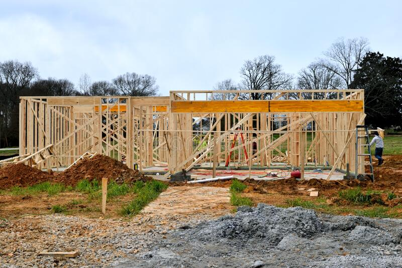 New home construction site background royalty free stock image