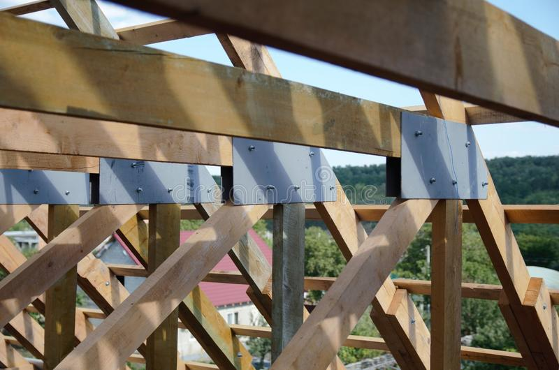 New home currently under construction and wooden rof royalty free stock images