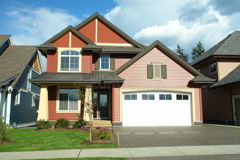 New Home Exterior Red royalty free stock photos