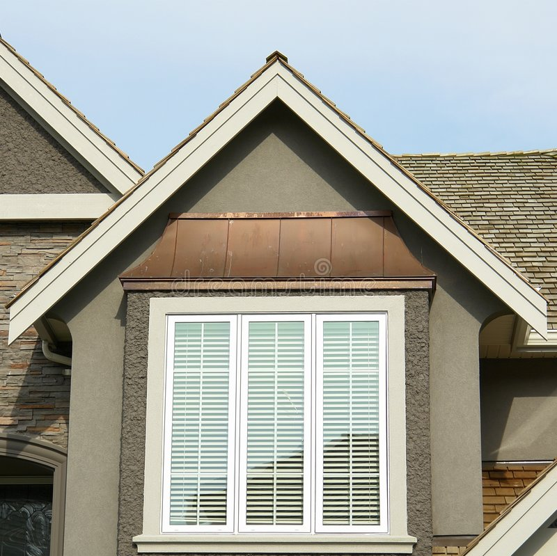 New Home Exterior Roof Peak stock images