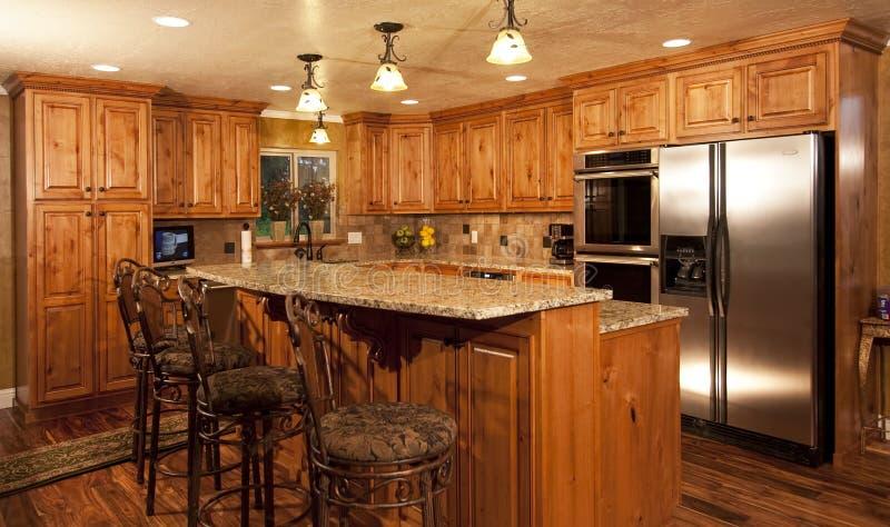 New home modern custom kitchen stock photos