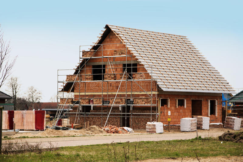 New home under construction, building a European style house, st stock photography