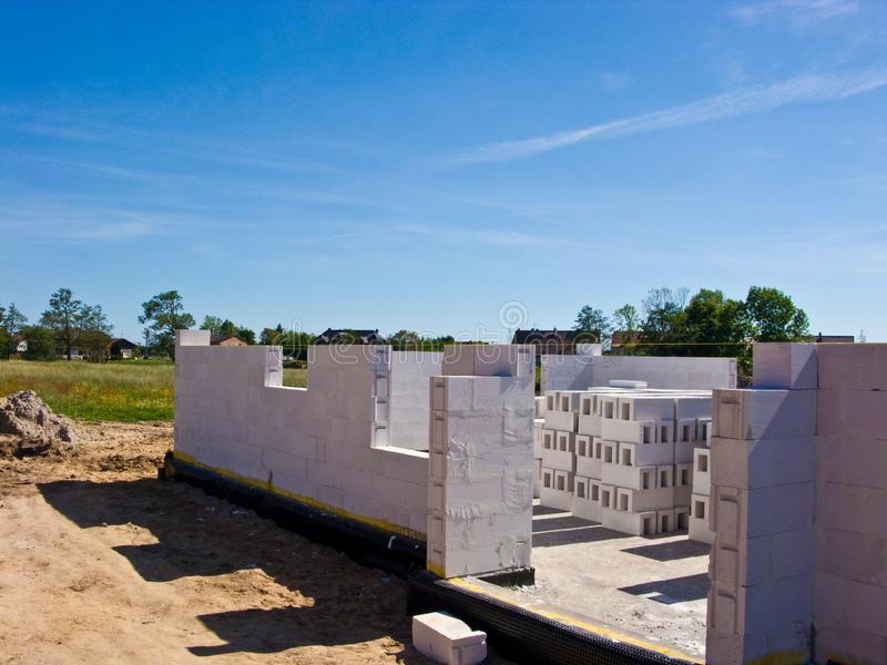 New home under construction, walls made of aerated concrete blocks. Construction and real estate house concept stock photo