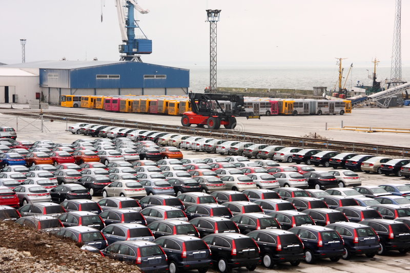 New Hondas in stock at a port. A photo of brand new Hondas in stock at a port stock photos