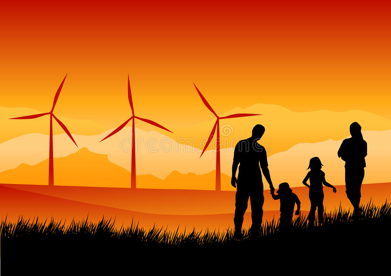 A New Hope. A family watching wind turbines in the distance