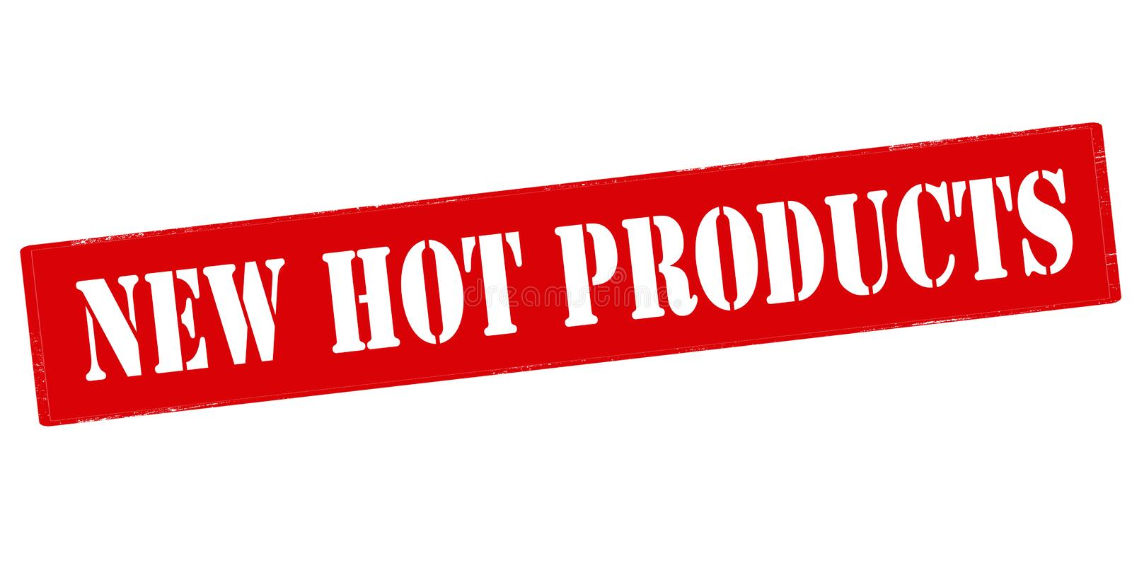New hot products. Rubber stamp with text new hot products inside, vector illustration stock illustration