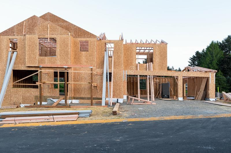 New House Construction in North America Subdivision. New Single Family Home Construction in New North American Subdivision stock photo
