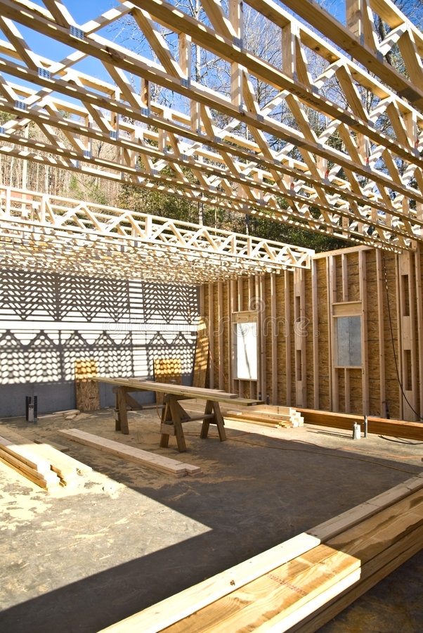 Download New House Construction/Trusses Stock Photo - Image of floor, shadow: 7958204