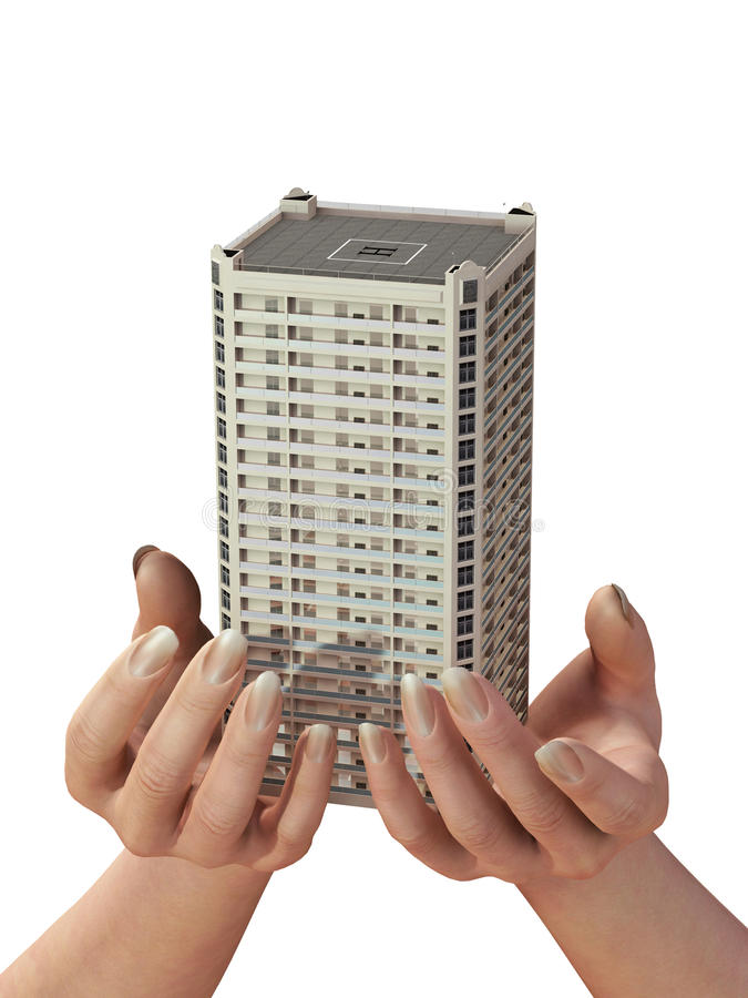 New House In Human Hands Stock Image