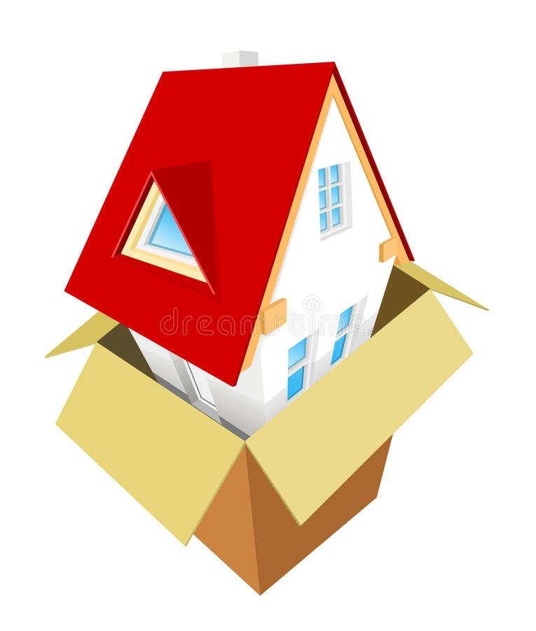 New house out of the box vector illustration