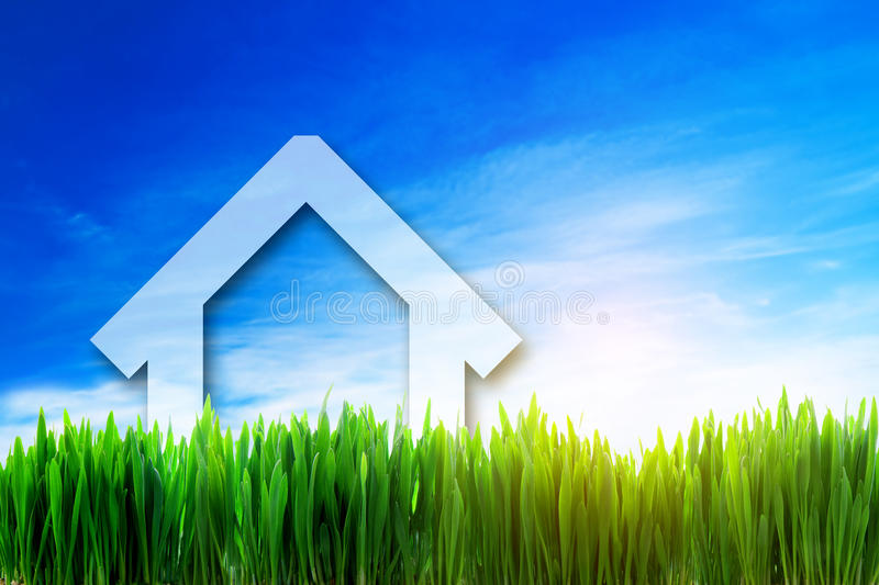 Download New House Perspective On Green Sunny Field Stock Images - Image: 30555984