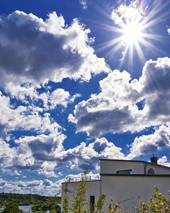 New house roof with daylight and blue sky background stock images