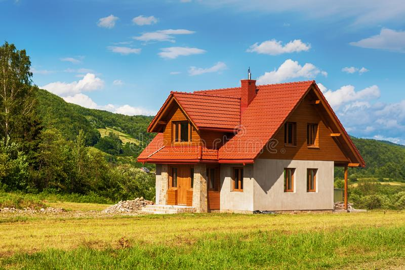 New house in rural area. New house construction in rural area stock photos