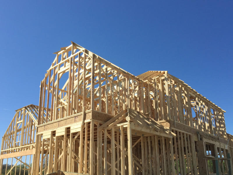 New house under construction. New two floors house under construction royalty free stock images