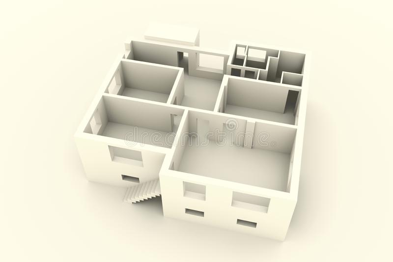 New house on white background - top view - interior stock illustration