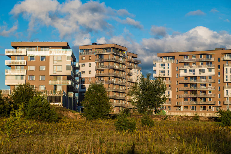 New houses in Pilaite. Living accommodations in Vilnius Pilaite Lithuania royalty free stock images