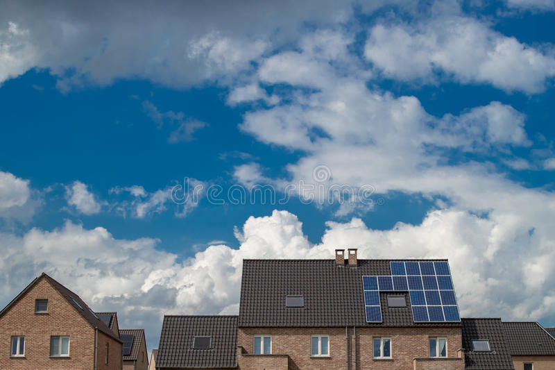 New houses with solar panels royalty free stock images