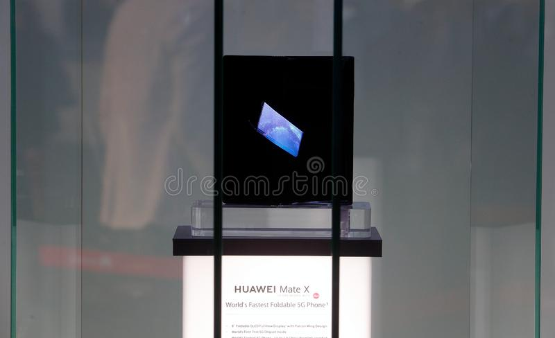 Huawei foldable mobile shown on MWC 2019 royalty free stock photo