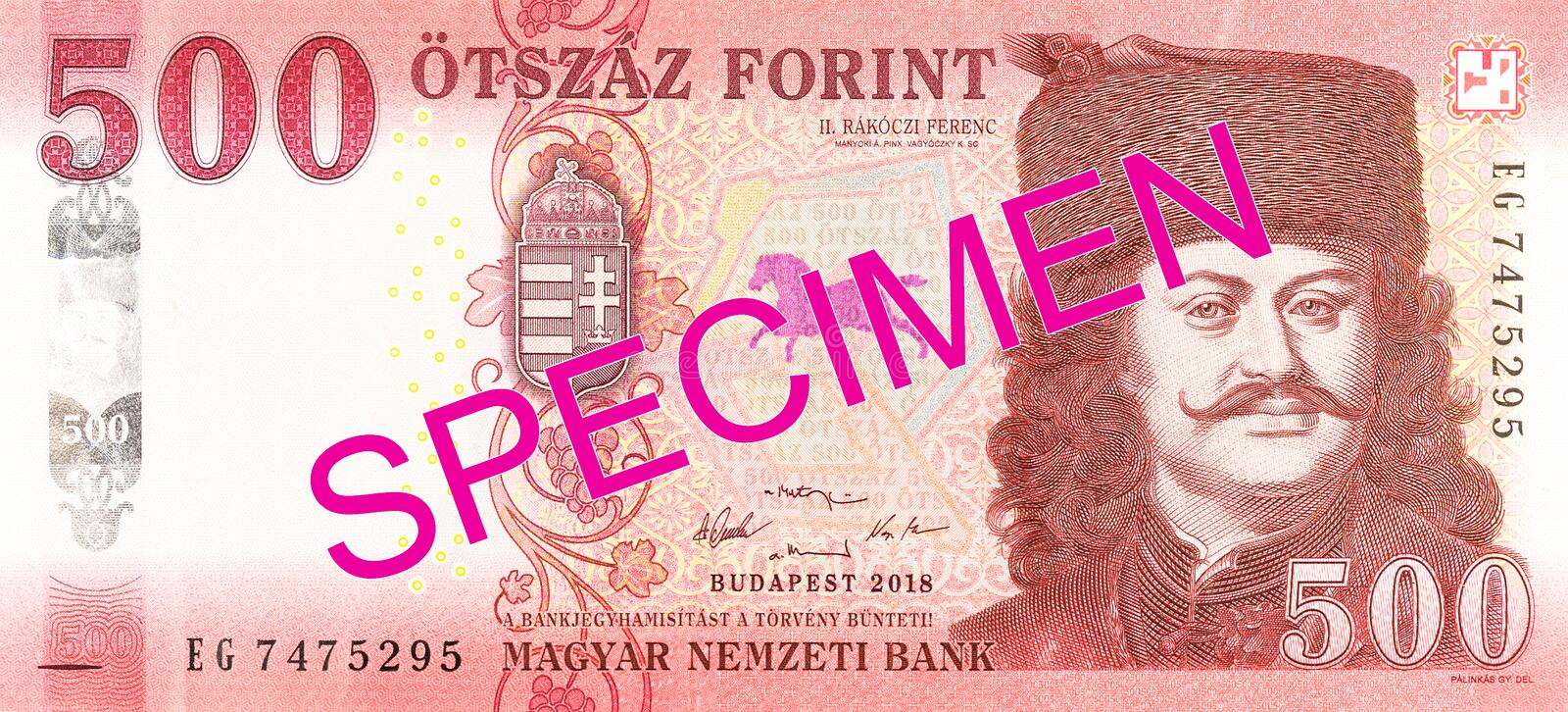 New 500 hungarian forint banknote obverse specimen. Single new 500 hungarian forint banknote obverse specimen royalty free stock image