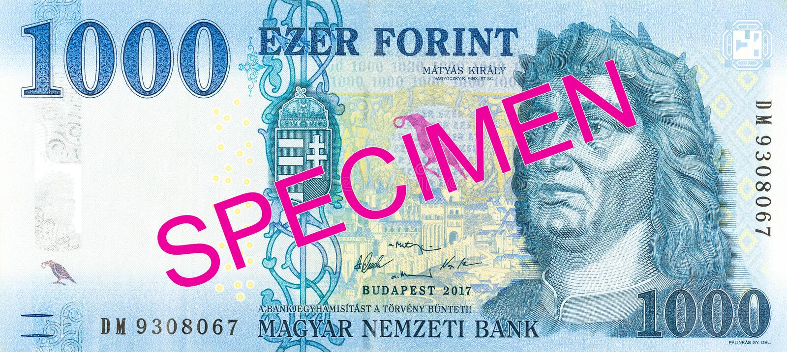 New 1000 hungarian forint banknote obverse specimen. Single new 1000 hungarian forint banknote obverse specimen stock images