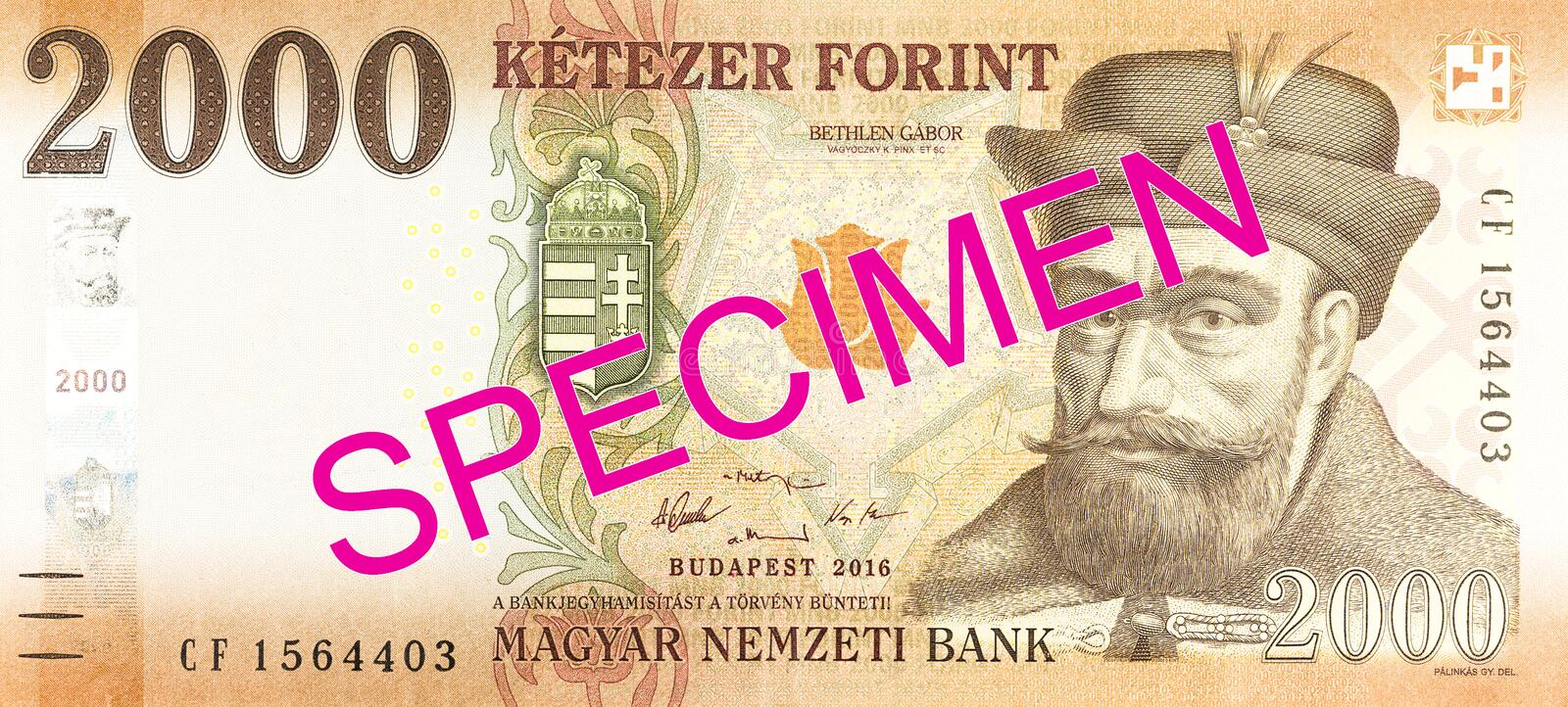 New 2000 hungarian forint banknote obverse specimen. Single new 2000 hungarian forint banknote obverse specimen royalty free stock images