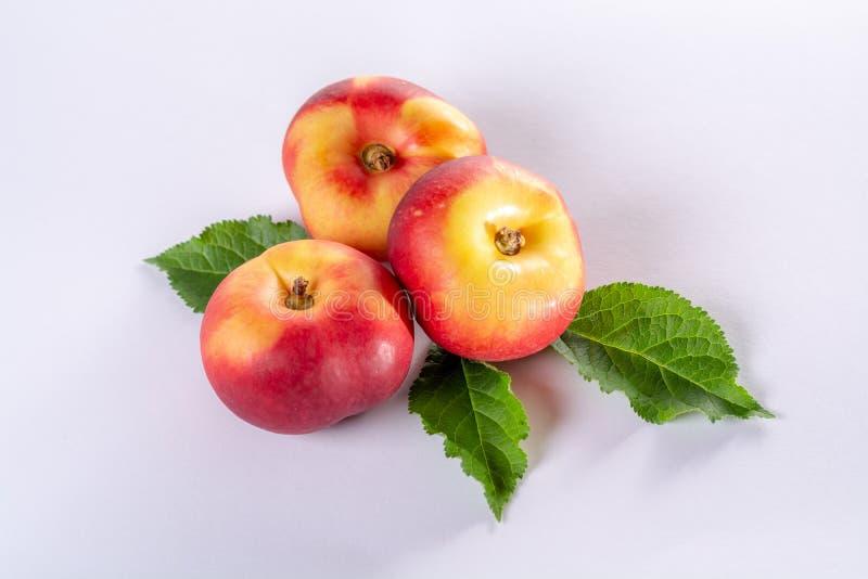 New hybrid sweet fruit nectarina platerina, flat Saturn or donut nectarine peaches close up royalty free stock images