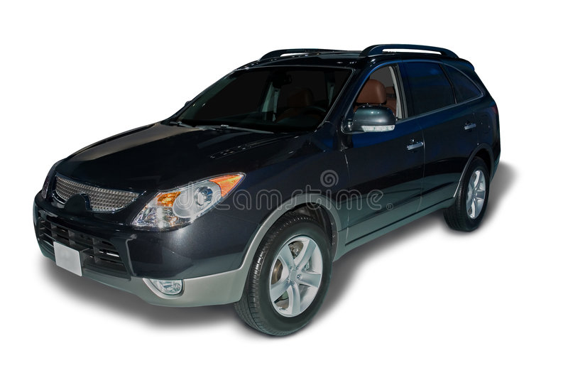 New Hyundai Veracruz Crossover. Dark blue Hyundai Veracruz crossover car isolated on a white background. Realistic shadow included. Clipping path for car is stock photography