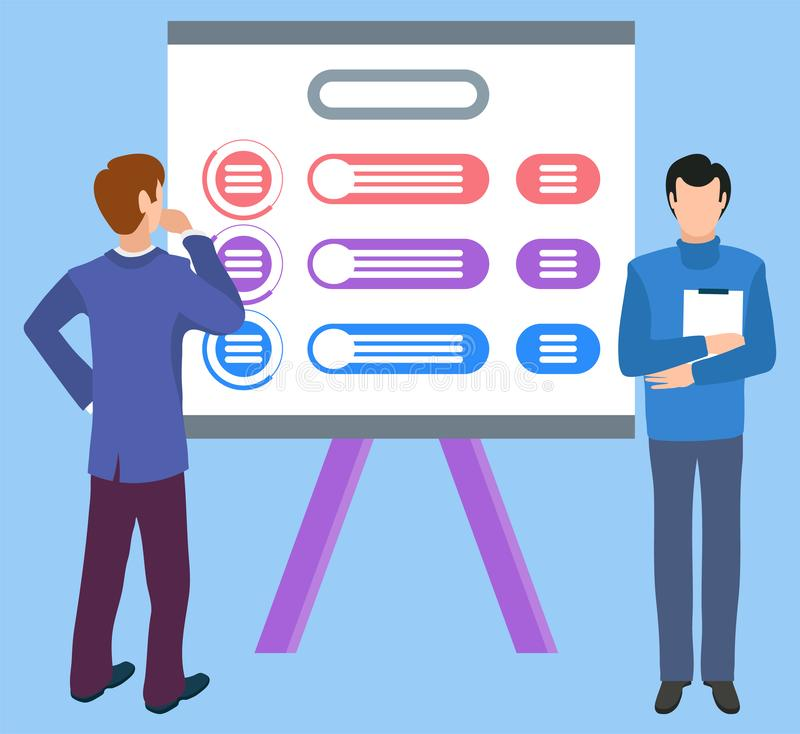 People Brainstorming on New Business Concept Idea. New idea on board, isolated characters boss with assistant holding paper documents. Whiteboard with royalty free illustration