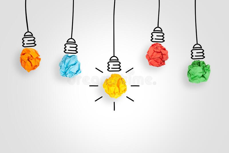 New Idea Concepts Light Bulb with Crumpled Paper on White Background stock images