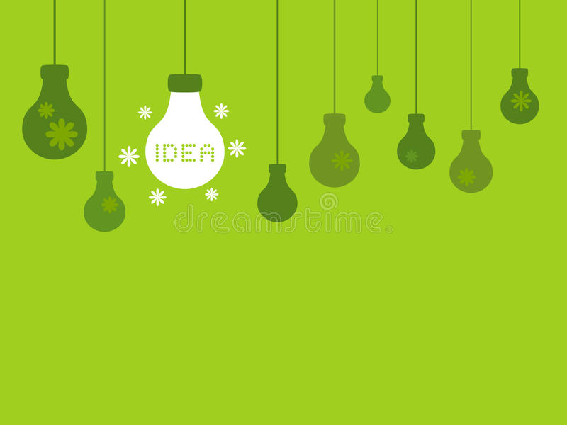 New Idea Light Bulbs on a Green Background vector illustration