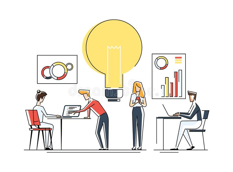 New idea or startup concept, vector illustration. Bulb glowing rocket launch. Small people grow plants, ideas, people royalty free illustration