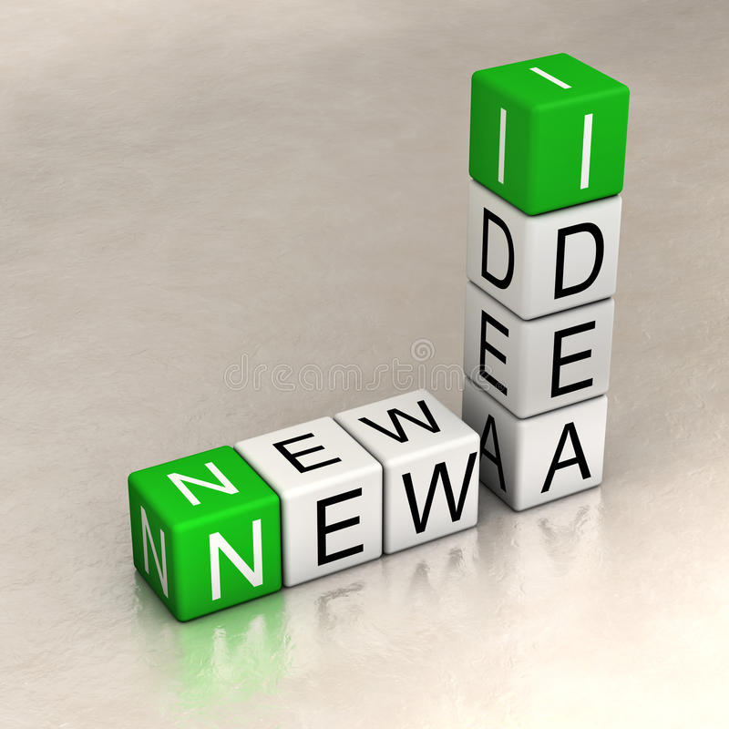New ideas. Words made of cubes royalty free illustration