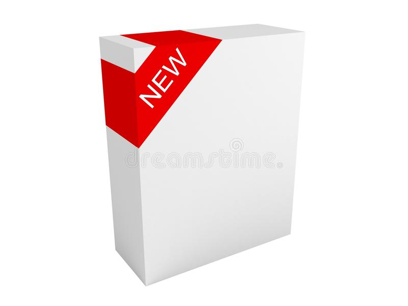 New and improved product package box stock illustration
