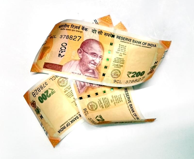 New Indian Currency Of 200 Rupee Notes Stock Photo - Image of gandhi