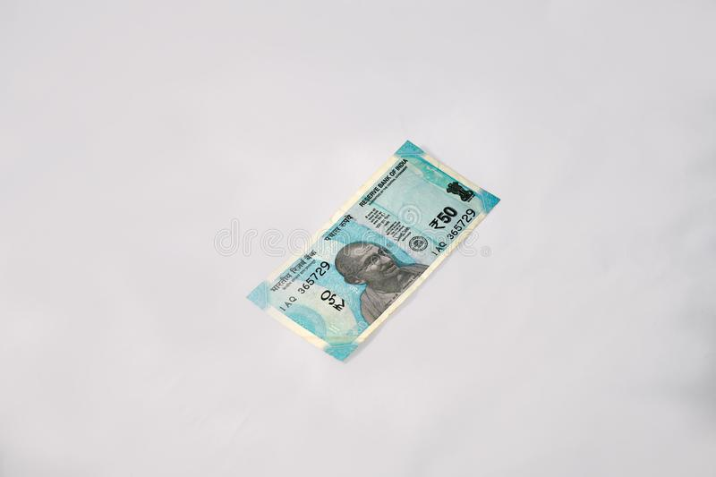New Indian Fifty Rupee Currency Note royalty free stock photos