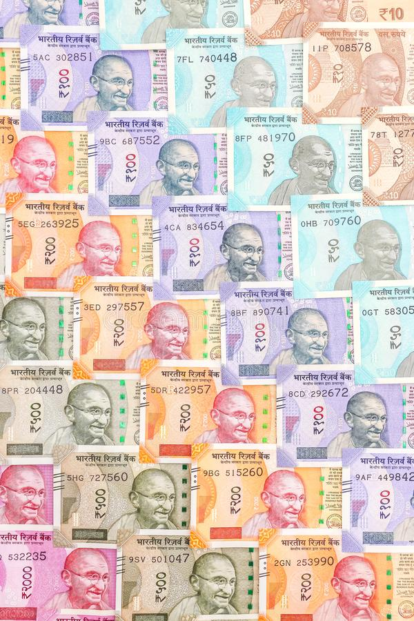 New indian 10, 50, 100, 200, 500 and 2000 rupees banknotes. Colorful cash money pattern background royalty free stock photos