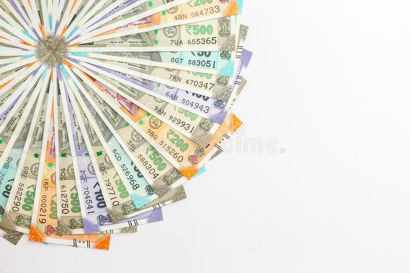New indian 50, 100, 200, 500 rupees banknotes. Colorful money ornamental background. Close up view of brand new indian 50, 100, 200, 500 rupees banknotes stock image